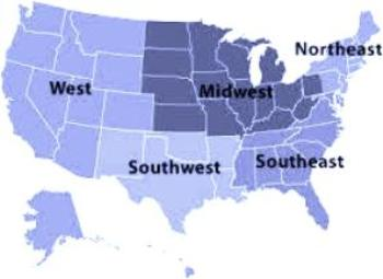 Regions Of The United States For Kids - Us map divided into 4 regions