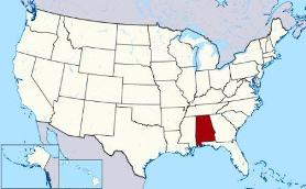 Map showing location of Alabama in USA