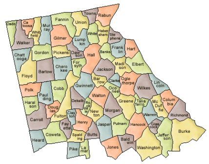 Map Of Georgia And County Map - Counties of georgia map