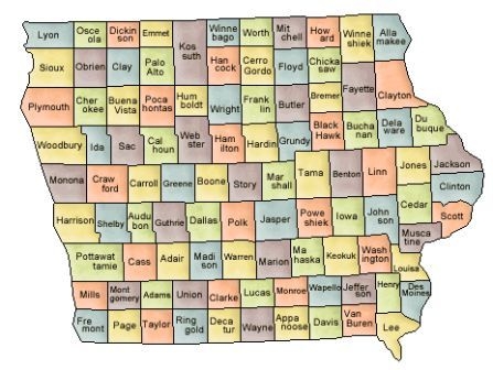 Map Of Iowa And County Map - Map of iowa counties