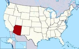 Map showing location of Arizona in USA