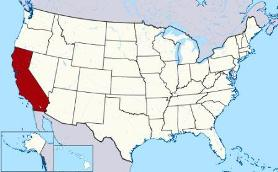 Map showing location of California in USA