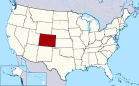 Map showing location of Colorado in USA