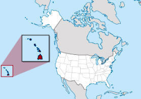 Map showing location of Hawaii in USA