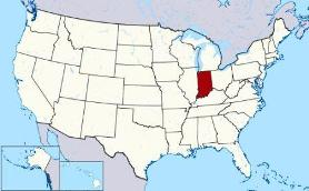 Map showing location of Indiana in USA