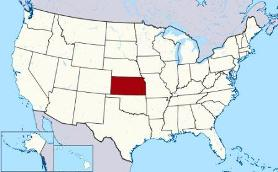 Map showing location of Kansas in USA