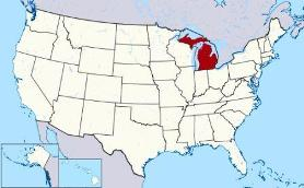 Map showing location of Michigan in USA