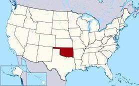 Map showing location of Oklahoma in USA