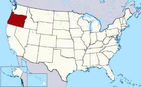 Map showing location of Oregon in USA