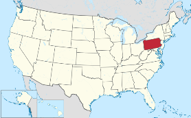 Map showing location of Pennsylvania in USA