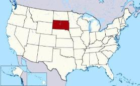 Map showing location of South Dakota in USA