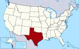 Map showing location of Texas in USA