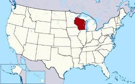 Map showing location of Wisconsin in USA