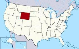 Map showing location of Wyoming in USA