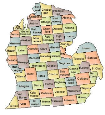 Map Of Michigan And County Map - Michigan county map