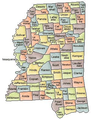 Map Of Mississippi And County Map - Counties in ms map