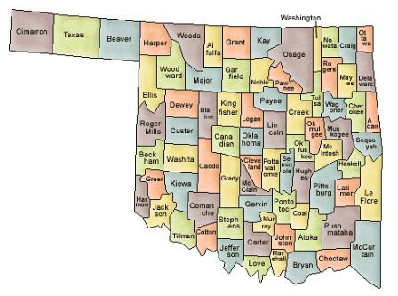 Map Of Oklahoma And County Map - Oklahoma county map